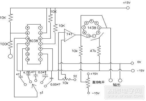 函数信号发生器的原理图及设计   序言:   随着大规模集成电路的迅速发展,函数发生器的应用也逐渐广泛起来。函数信号发生器(函数信号发生器的使用)是一种在科研和生产中经常用到的基本波形产生器,一般可以分为模拟与数字信号发生器两种。目前,国内生产的多功能函数信号发生器大多是基于5G8038芯片的,其功能与国外的ICL8038芯片功能相同。它的各种信号频率可以通过调节外接电阻和电容的参数值进行调节,为快速而准确地实现函数信号发生器提供了极大的方便。那么,函数信号发生器的原理图的设计方案是什么呢?